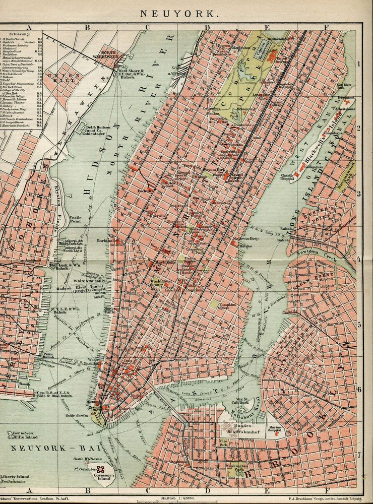 Ca NEW YORK CITY Antique Map MEYERS Antique Maps Pinterest - Antique maps nyc