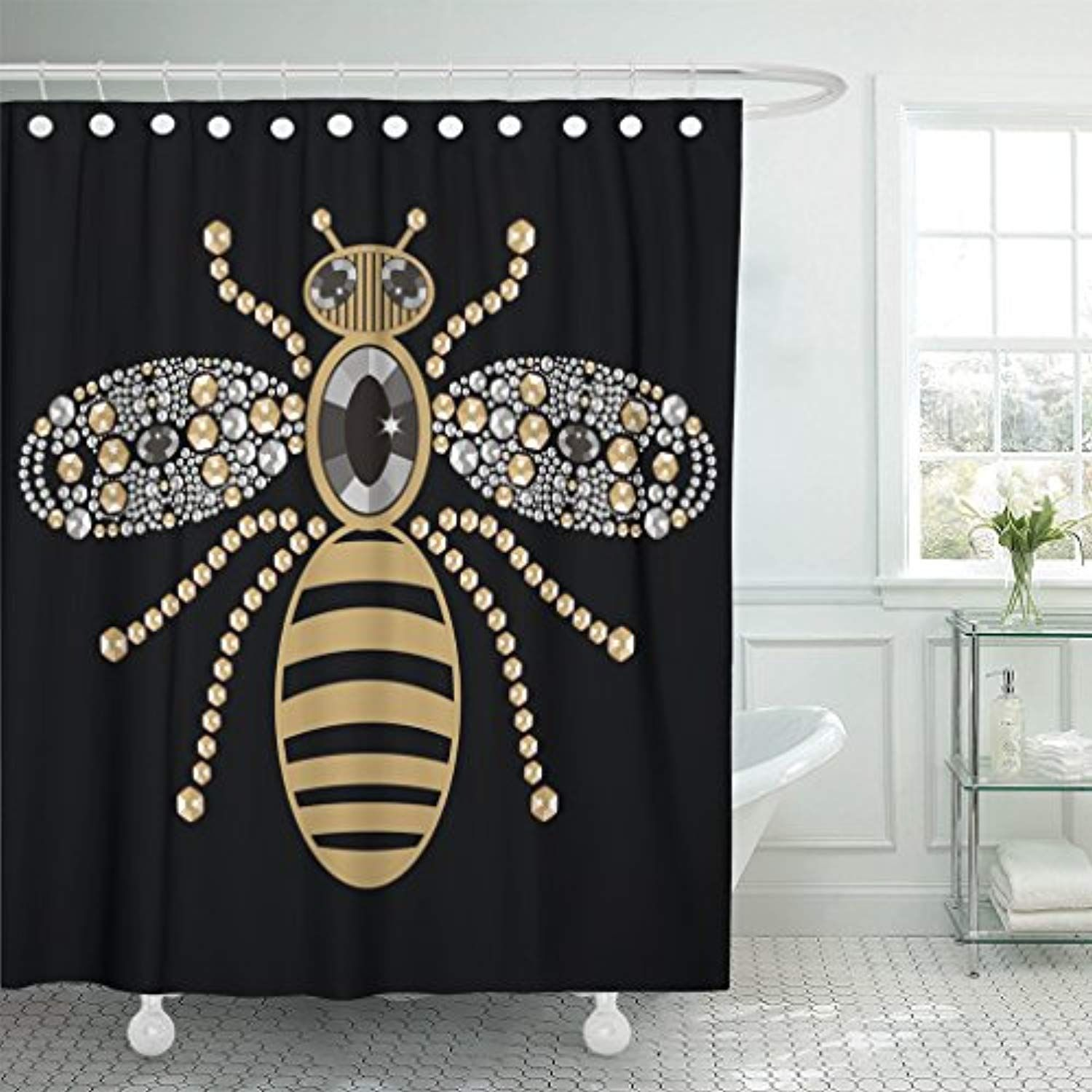 Tompop Shower Curtain Beautiful Of Flying Bees Shiny Gold Silver