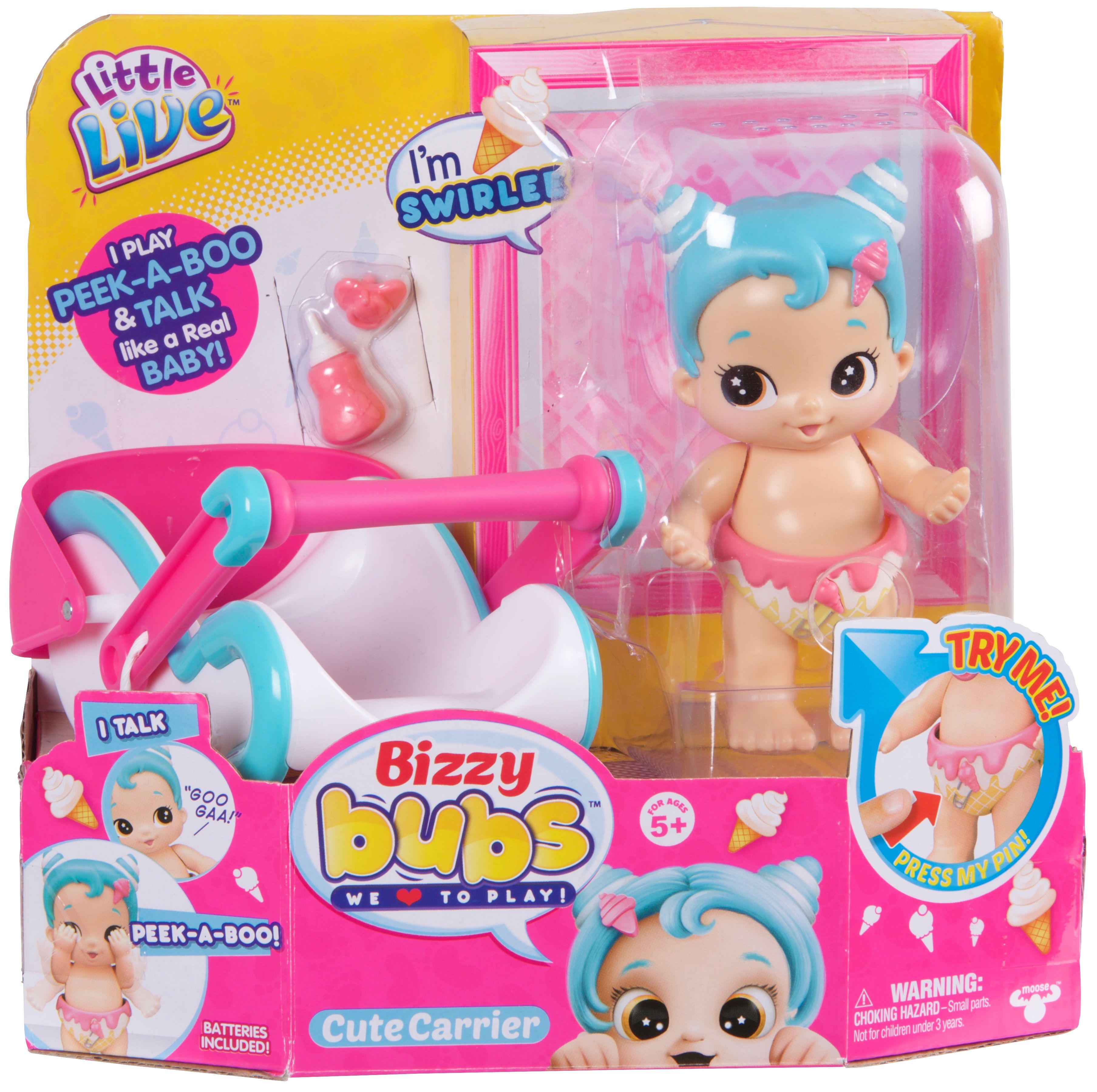 Little Live Babies Baby Girl Doll Swirlee With Carrier Bottle And Pacifier Walmart Com In 2020 Peek A Boo Baby Live Baby Dolls Little Live Pets