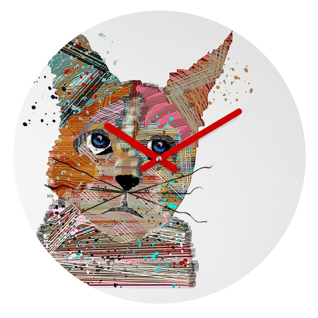 Brian Buckley Urban Kitten Graffiti Round Clock | DENY Designs Home Accessories