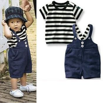 Wholesale Children's Outfits & Sets - Buy Free Shipping Baby Clothes Black Stripe Top Bib Pants Lines, Family of Dual-use Fashion Summer, $35.27 | DHgate