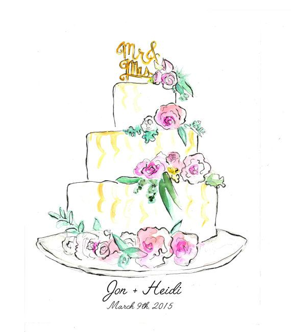 Custom Wedding Cake Illustrationpackage By Laceeswan On Etsy