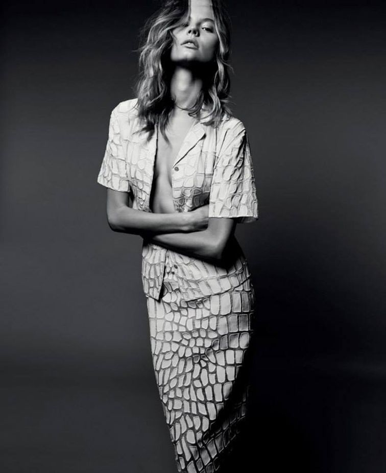 Magdalena Frakowiak in Stella McCartney summer '14, organza Ruby Shirt and Simona Skirt with crocodile appliqué embroidery
