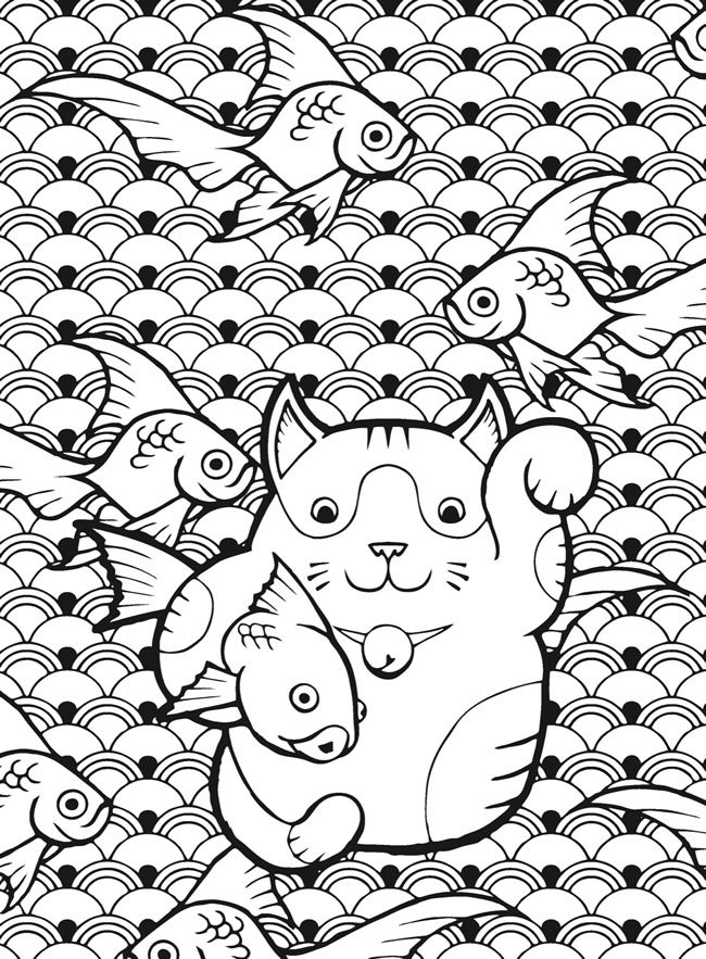 Neko Lucky Cat Fish Coloring Pages Colouring Adult Detailed
