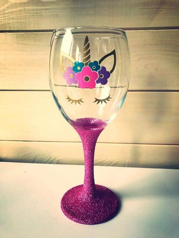 be9ded3dbdc Unicorn wine glass Unicorn glasses with glitter base. Choice of 4 ...