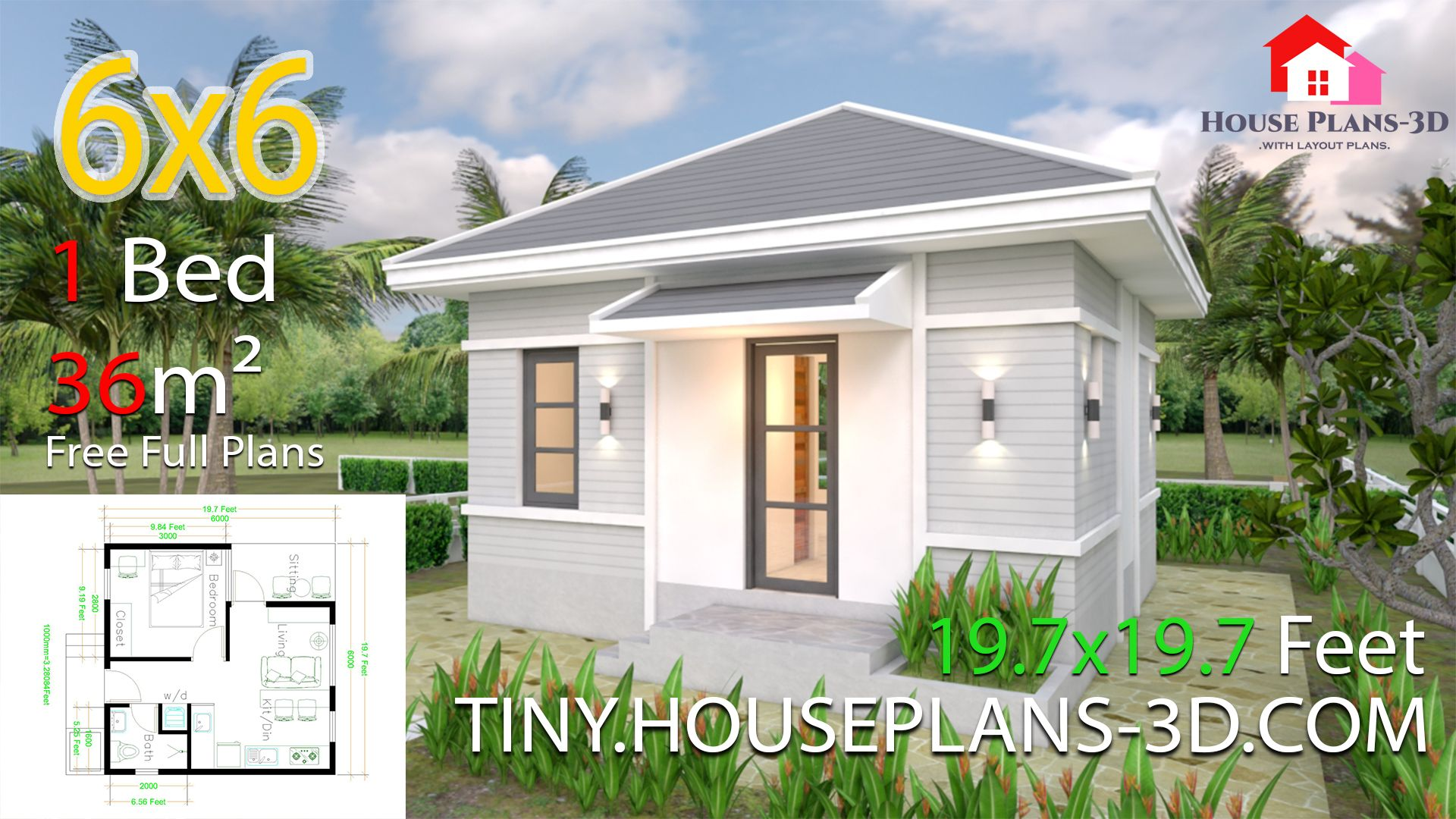 Small House Plans 5x5 with One Bedroom Hip Roof - Tiny House Plans
