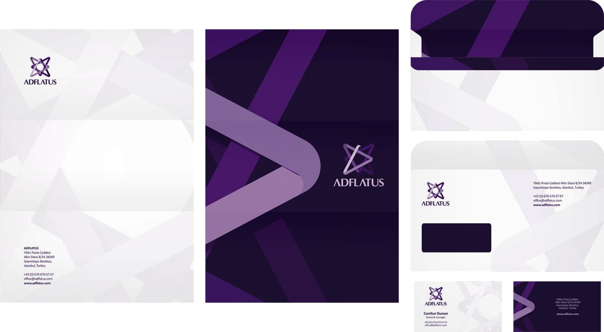 Adflatus logo and identity design, branding Logo design, stationery ...