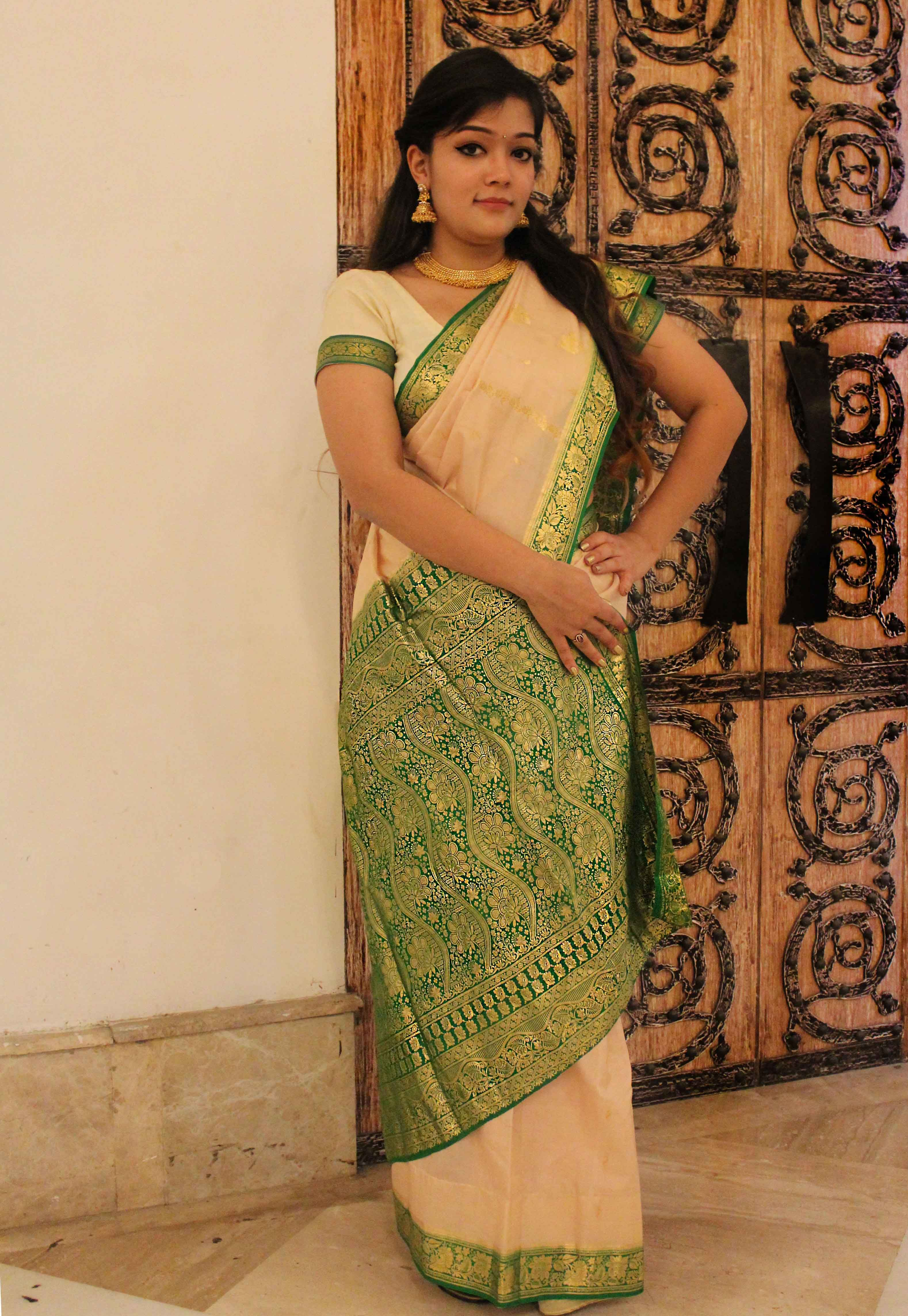 Cream Silk Saree with Green and gold border | Fashion Fab ...