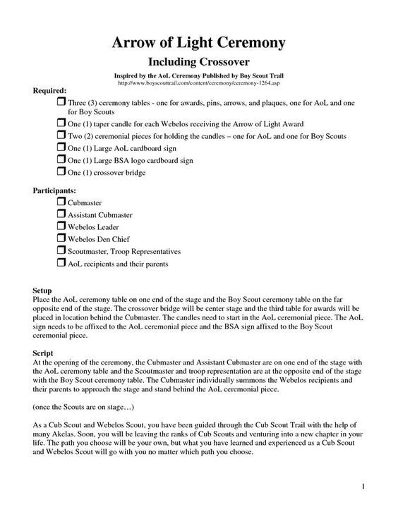 Cub Scout Arrow of Light Ceremonies Scripts - - Yahoo Image Search - scope of work template