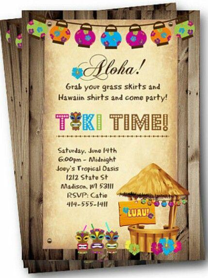 Birthday Ideas Hula Hawaiian Invitations Luau Party Invites Tiki Bbq