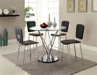 Huelo Round Glass Counter Height Table Set Counter Height Dining Table Glass Top Dining Table Furniture Of America
