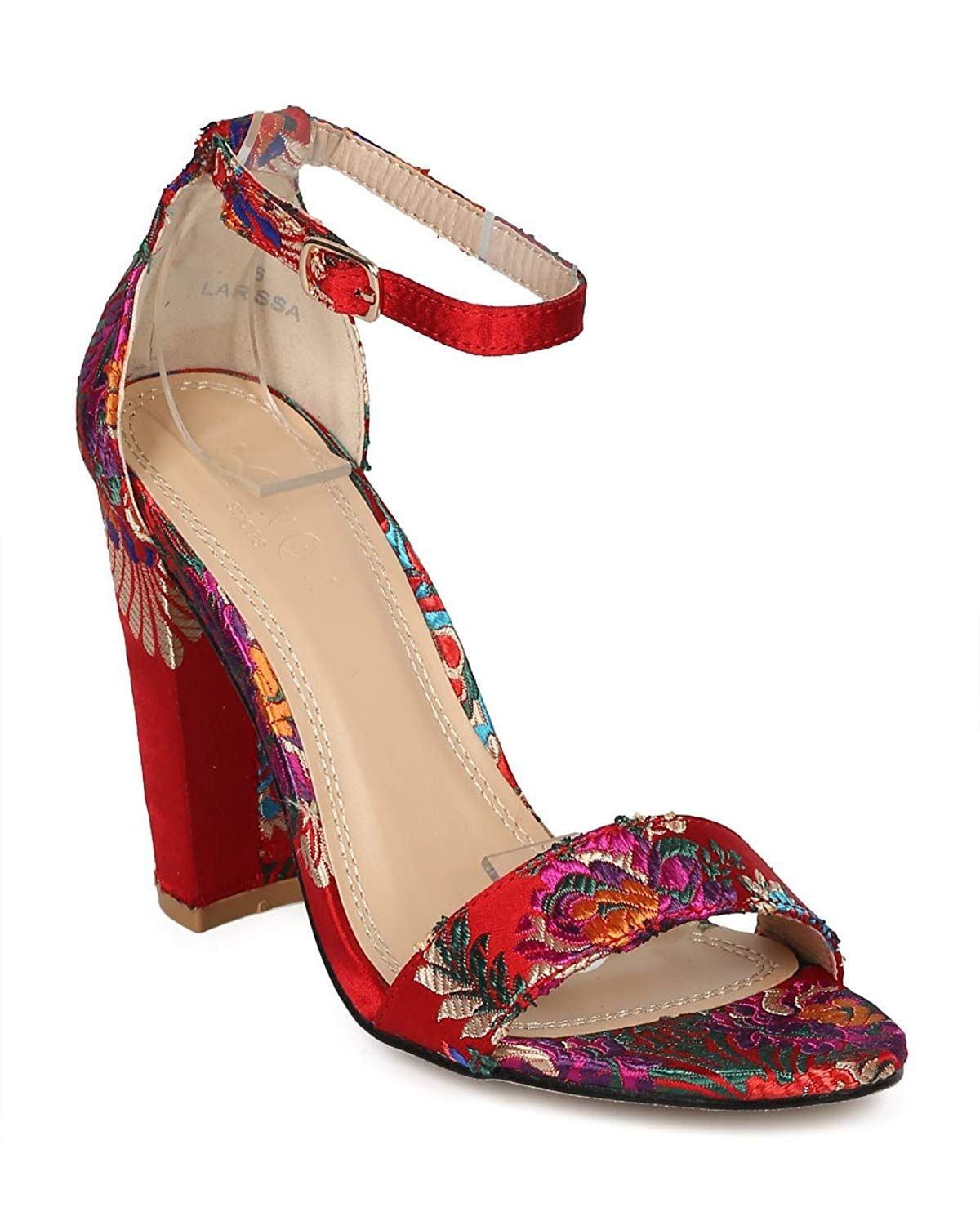 f75acaf5b0c0 Alrisco Women Floral Block Heel Sandal - Brocade Chunky Heel - Open Toe  Embroidered Dressy Sandal