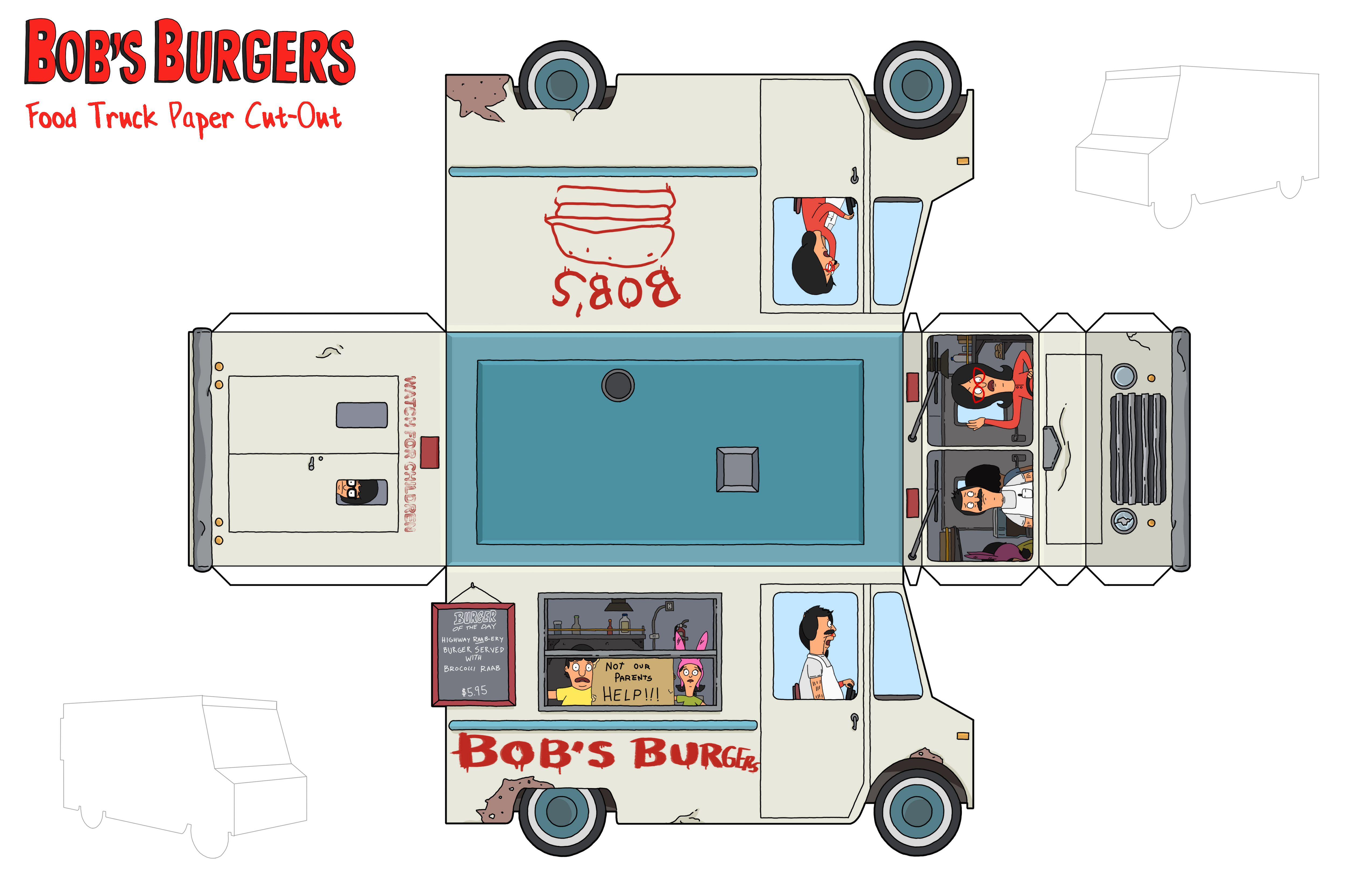 Bob S Burgers Paper Craft Paper Toys Bobs Burgers Food Truck