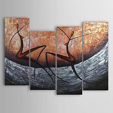 hånd-malet abstrakt oliemaleri med strakte ramme - sæt af 4 - DKK kr. 488