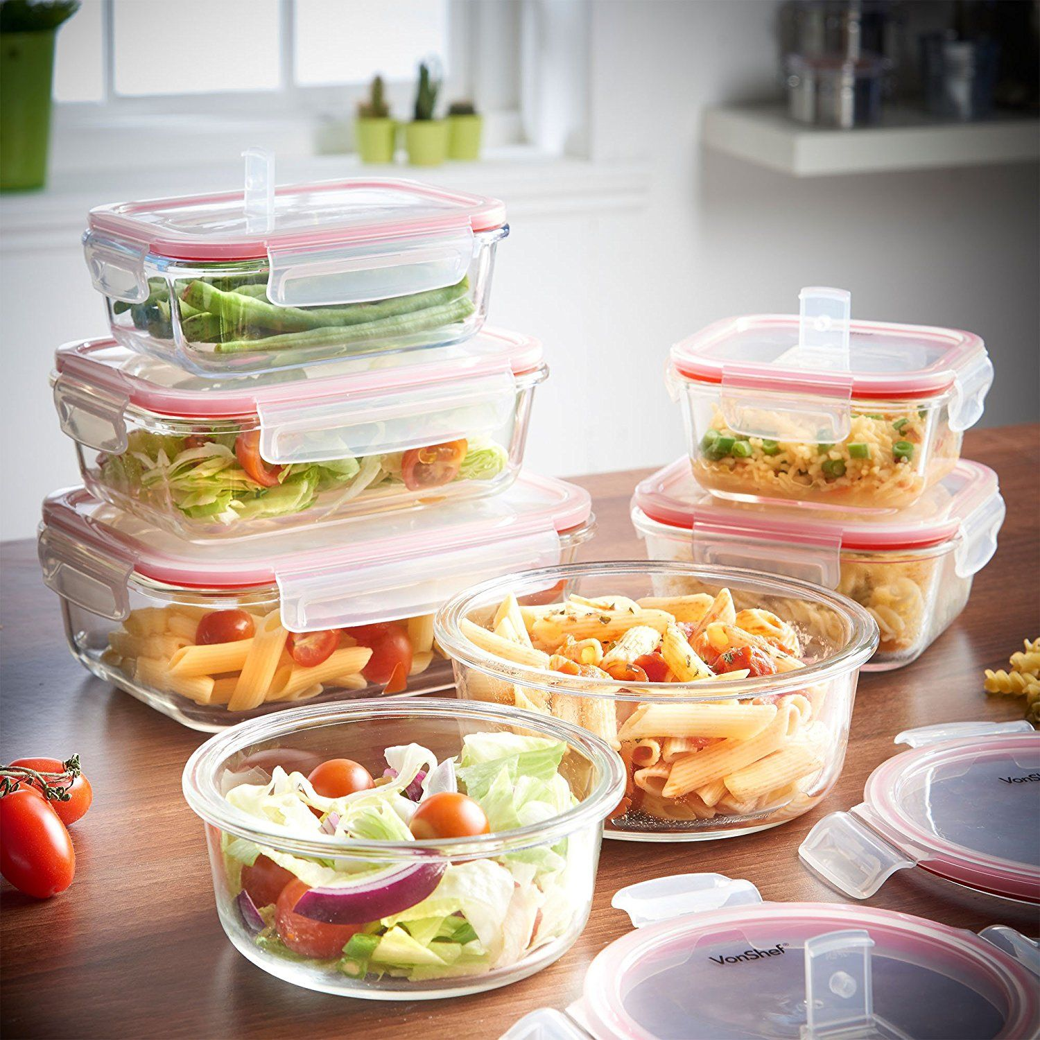 20 99 Vonshef 7 Piece Microwavable Gl Container Storage Set With Air Vent Lids