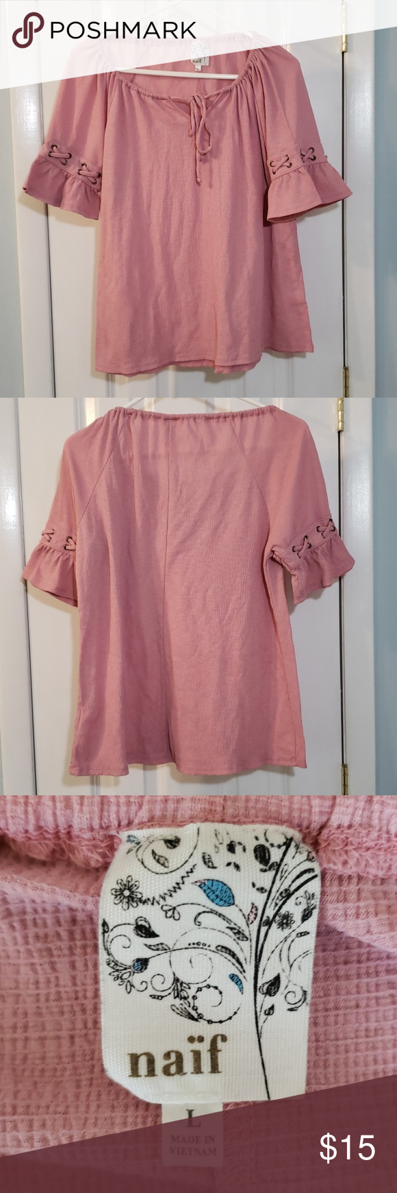 Naif Pink Peasant Top Naif flowy pink peasant top with short bell sleeves Ties in front and has tie decoration on the sleeves Smoke-free, pet-free hom…