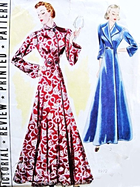 ecd8d6ef4c 1930s Glamorous House Coat Hostess Robe Pattern PICTORIAL REVIEW 8972 Full  Sweep Flared Robe Bust 38 Vintage Sewing Pattern