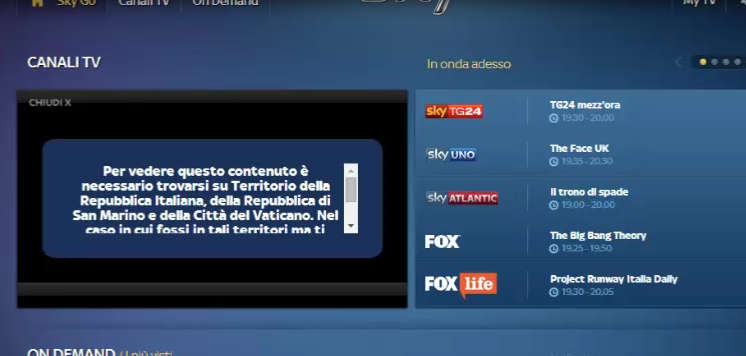 Sky Go Italia outside Italy Unblock/Watch via VPN The