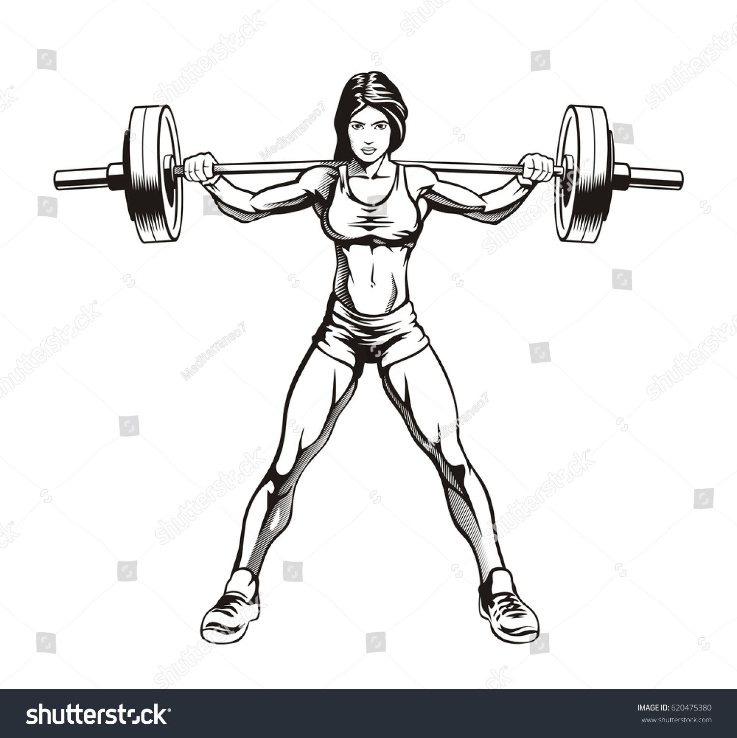 Fitness Girl Squatting Bodybuilder Woman With Barbell Vector