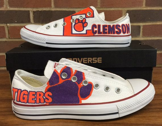 2018 Clemson Tigers Sneakers Canvas Shoes Hand Painted Logo