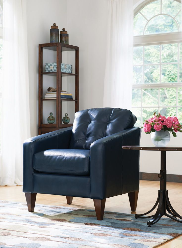 La-Z-Boy Jazz Chair | This chair's small scale works well in smaller spaces. Plus, PIN TO WIN an ottoman! Get contest details at http://houseandhome.com/la-z-boy | #LaZBoy #ArmChair #LivingRoom #Furniture