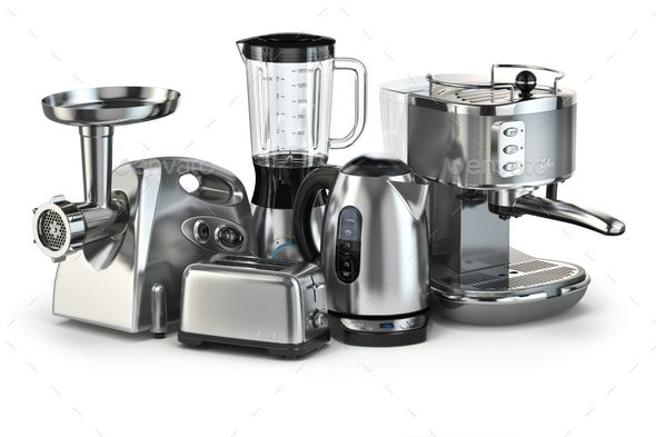 Metallic kitchen appliances. Blender, toaster, coffee machine, m by maxxyustas. Metallic kitchen appliances. Blender, toaster, coffee machine, meat ginder and kettle isolated on white. 3d