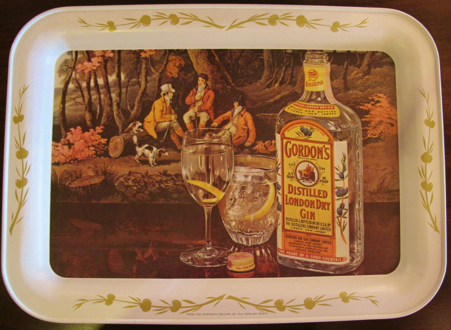 Gordon 39 S Gin Ad Serving Tray Tole 1950 39 S Vintage Gordon S Gin Gin Vintage Bar