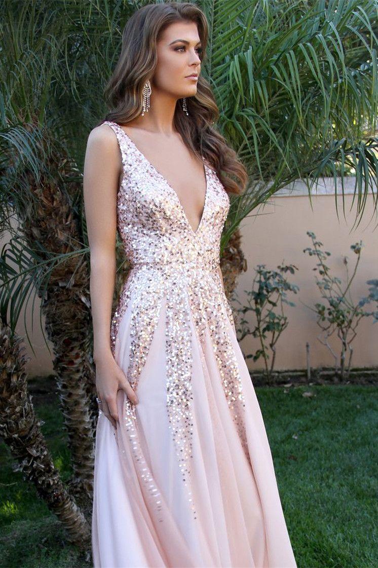 Gergeou beaded v neck evening dress sexy pink long prom dress