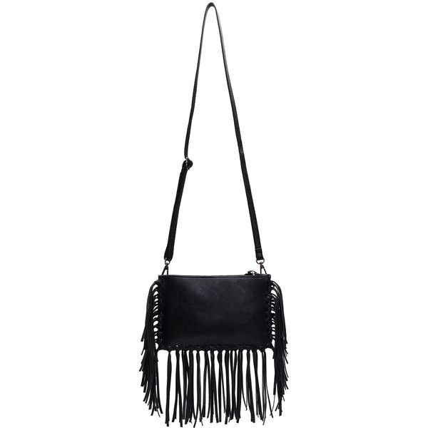 SheIn(sheinside) Black Leather Buckle Tassel Shoulder Bag (€16) ❤ liked on Polyvore