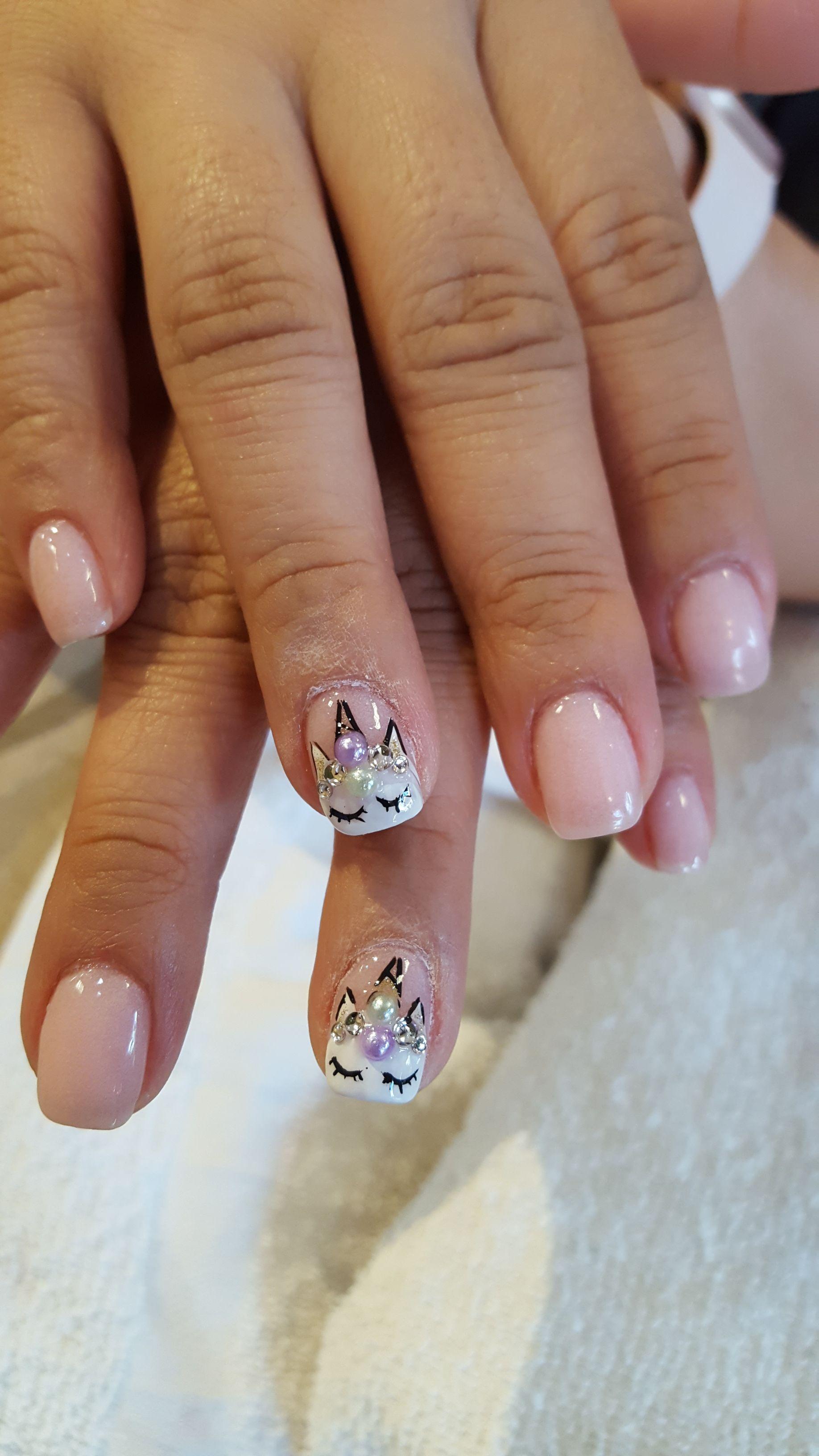 Unicorn Hand Art Nail Designs Dip Powder Set At Brilliant Nails