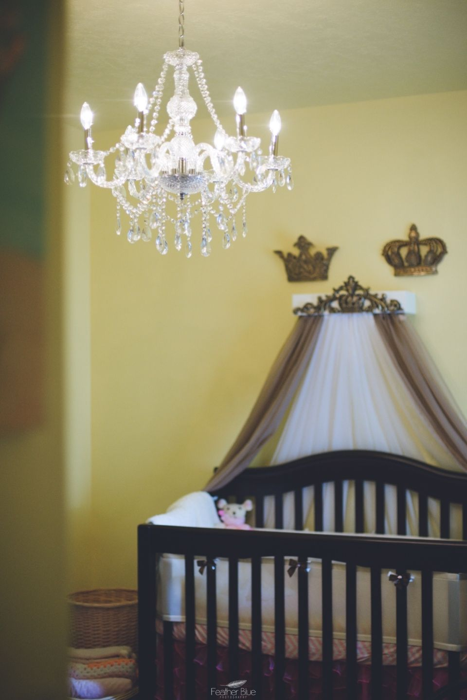 Our Royal Nursery Chandler His Hers Crowns Custom Made Bed Crown Curtains Soft Sweet Short Designs Yellow Gold Peach Bling C