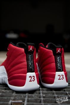 f140b720c0d The Air Jordan 12 Retro Gym Red is one of the hottest retro colorways we've  seen in a while. Still available in Grade School sizes.