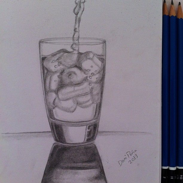 #art #draw #sketch #water #ice #pencil #glass #drink