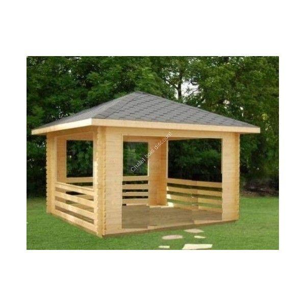 Tonnelle en bois 9m² | Auvent | Gazebo bois, Tonelle et Kiosque jardin