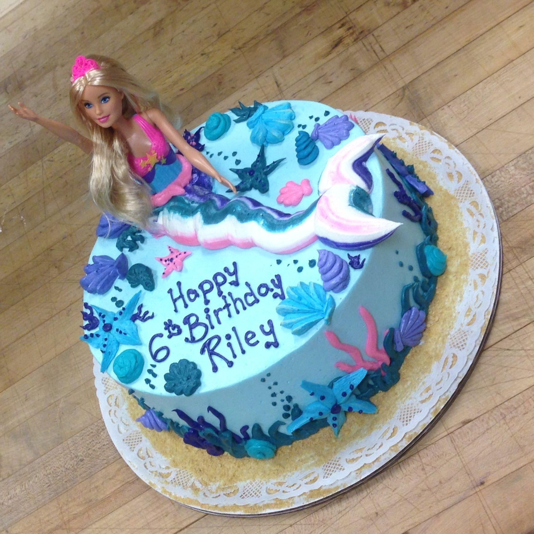 Super Mermaid Birthday Cake For A Little Girls 6Th Birthday Celebration Birthday Cards Printable Giouspongecafe Filternl