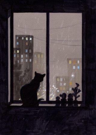 night watching illustration mix pinterest cat art