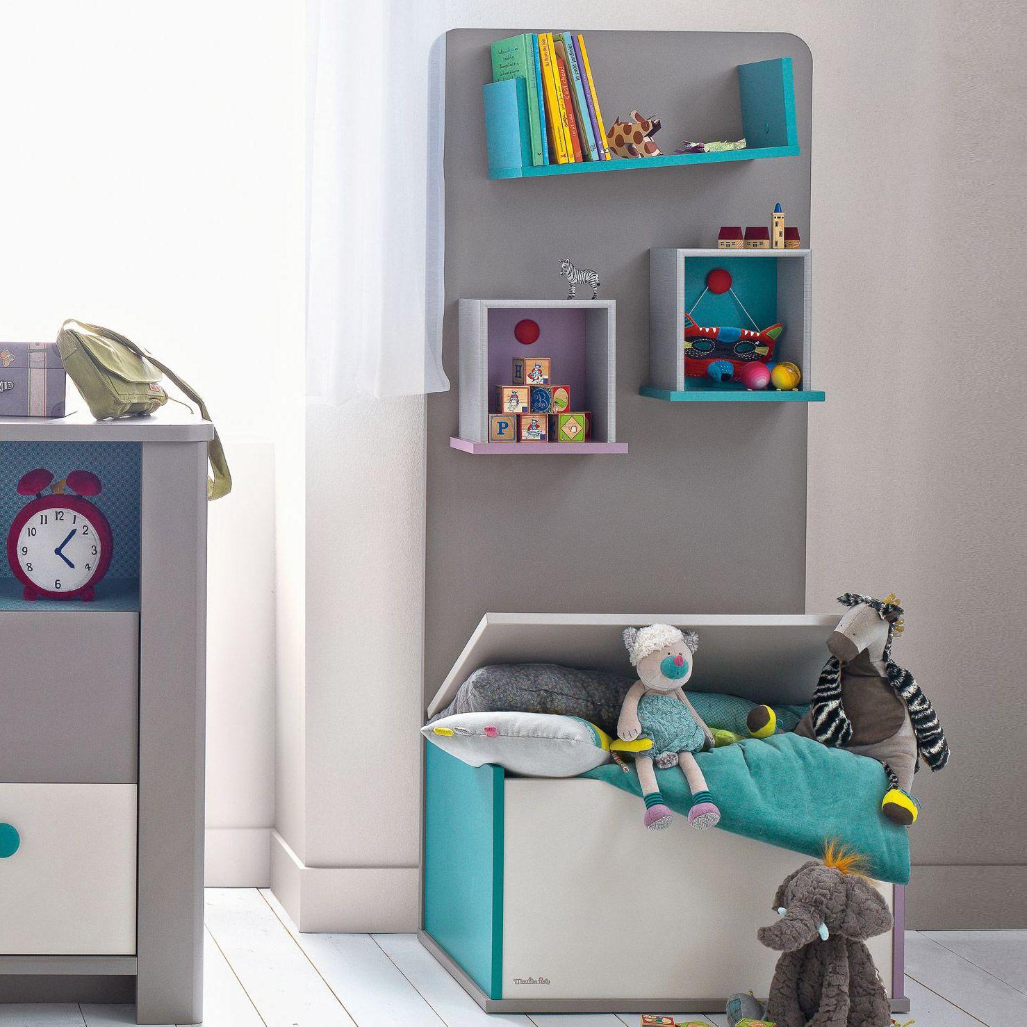 biblioth que taupe avec coffre jouets pour chambre b b. Black Bedroom Furniture Sets. Home Design Ideas
