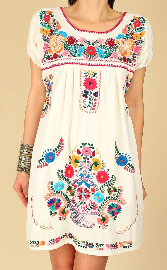 677eb0d608 ViNtAgE Mexican EMBROIDERED MiNi Dress    by hellhoundvintage