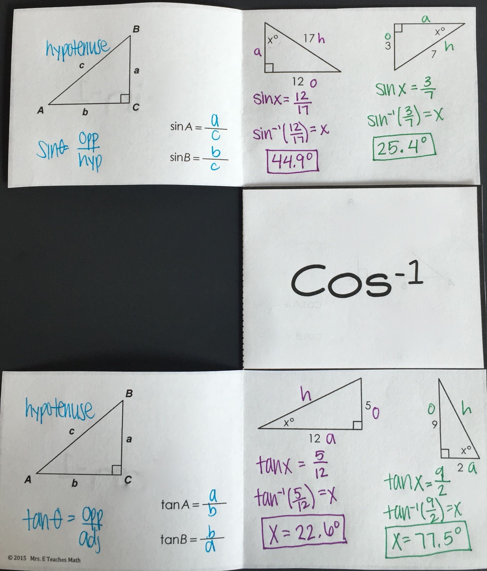 Intro To Trig Sohcahtoa Geometry Foldable Interactive
