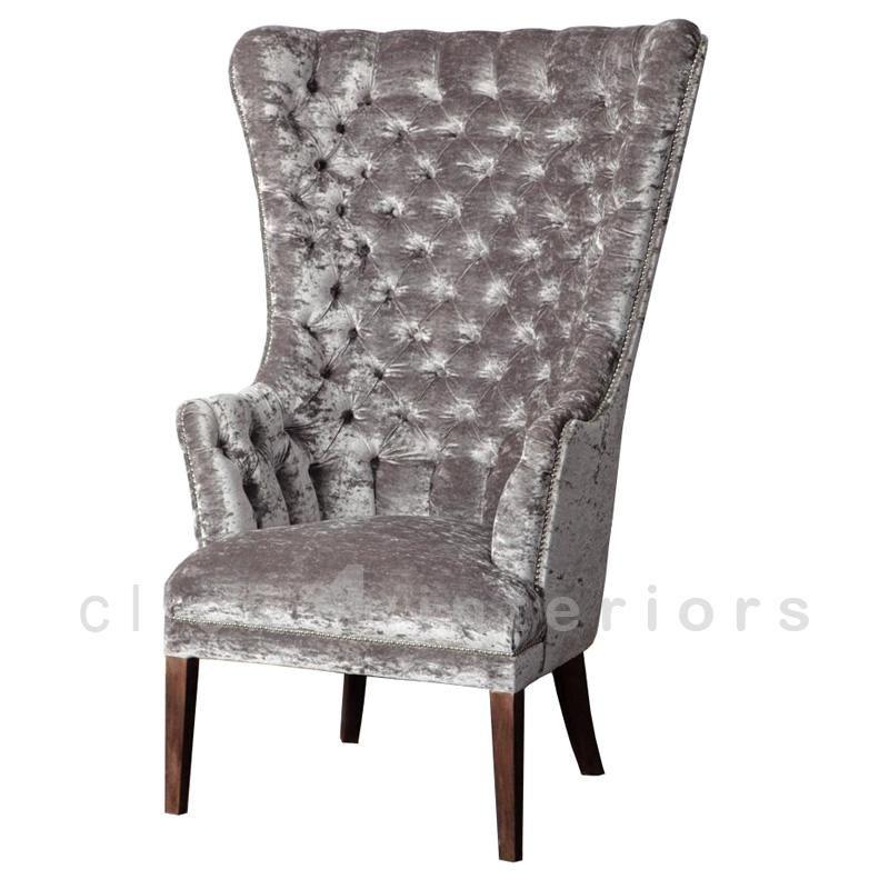 Gray High Back Armchair