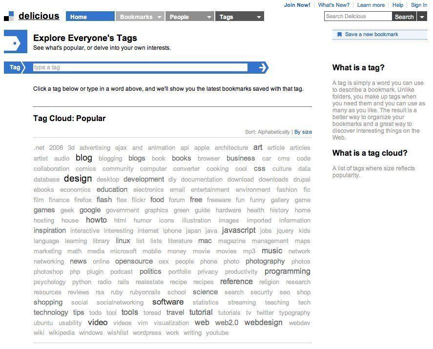 Tag Cloud design pattern example at Delicious - 4 of 13 UI UX - gui designer resume