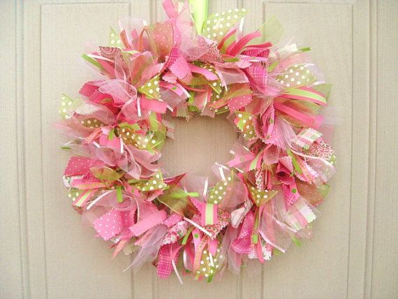 Photo of Spring Wreath – Cottage Colors Door Wreath – Ribbon Wreath – Fabric Wreath – Spring Decoration