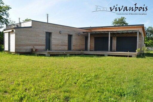 Maison ossature bois toit plat et monopente bac acier, bardage