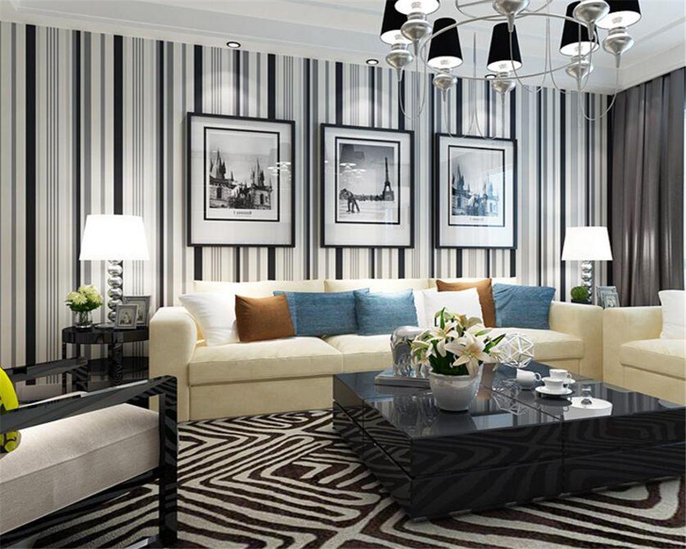 Beibehang Wallpaper For Walls Modern Black White Stripe Bedroom Sitting Room Dining