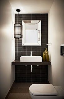 small narrow powder room perfect for toilet with a long