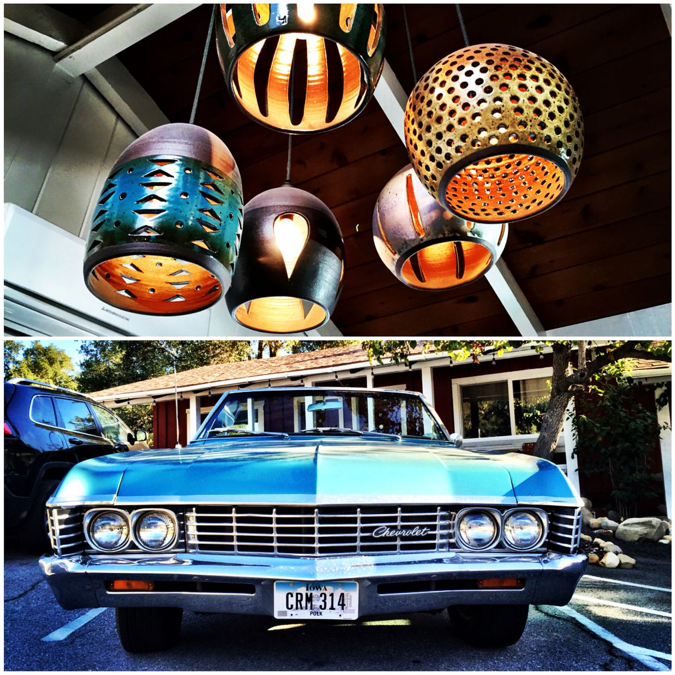 Road trip, Ojai Rancho Inn. Loving Heather Levine ceramics to this vintage Chevy Impala convertible. #RoadTrip pics Susan Wickstrand