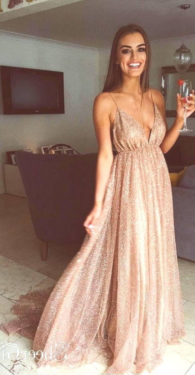 Photo of Sexy Sparkly Sheer Lace Prom Dresses Side Slit Spaghetti Str…