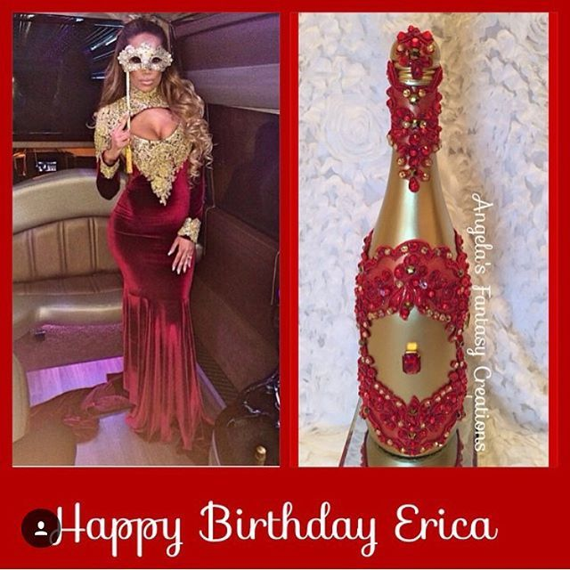 That time we @iamerica_mena birthday bottle that matched her #dress This was last years birthday! This bottle is available in multiple colors #memorybottlle #champagne #champagnepapi #champagnebottle #redandgold #birthdaybottle