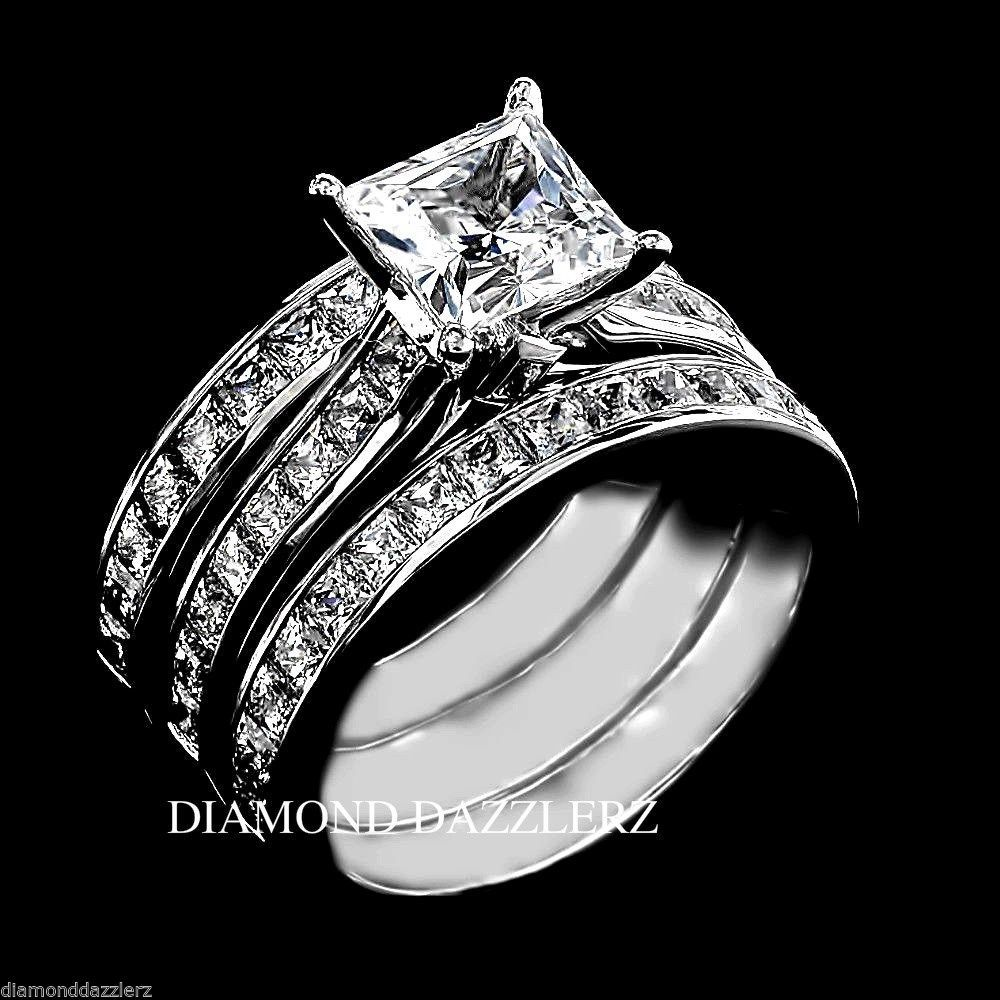Princess Cut Diamond Engagement Ring 3pc Wedding Band Set Sterling Silver  Size 8