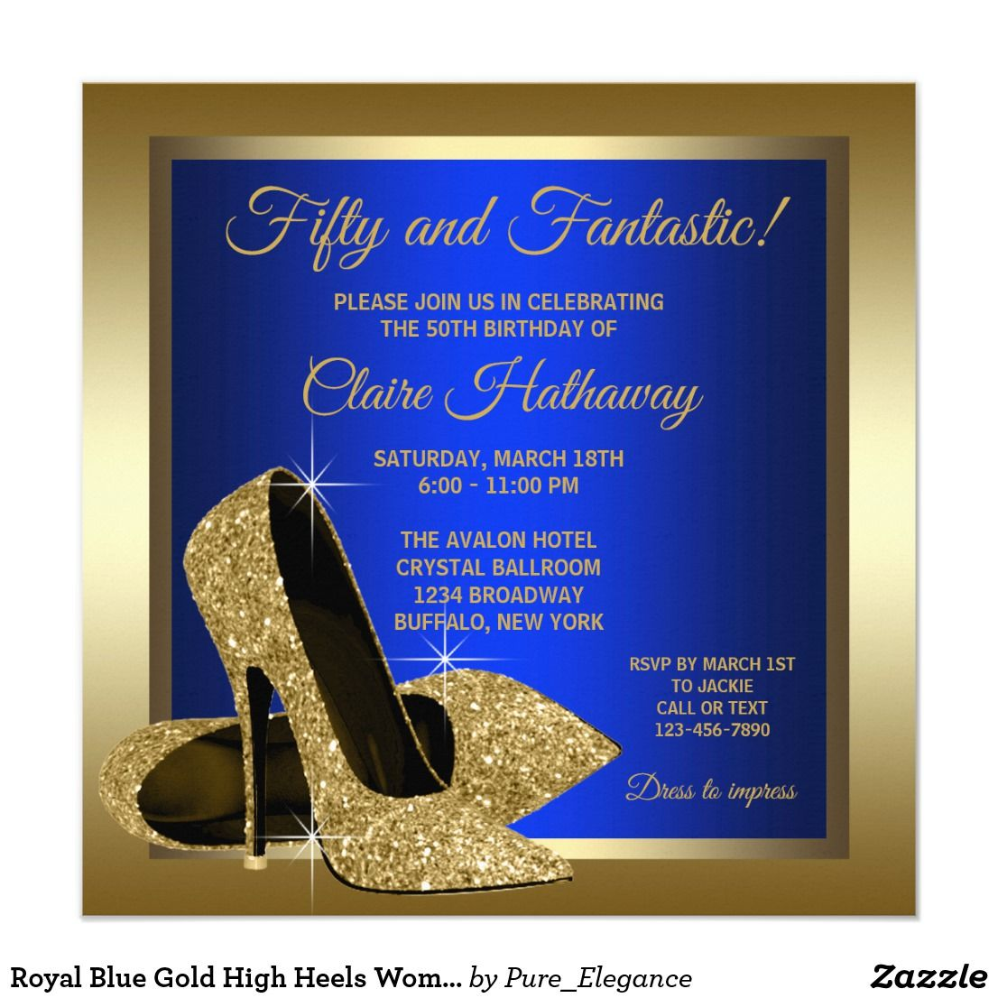 Royal Blue Gold High Heels Womans Birthday Party Card | 80s party ...